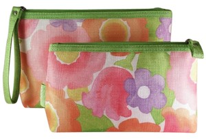 Clinique ** NWT ** GREEN Floral Set of 2 Makeup Bags