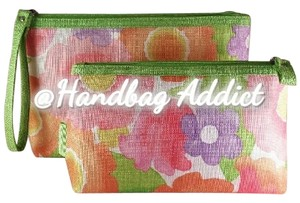 Clinique ** NWT ** GREEN Floral Set of 2pc Makeup Bags