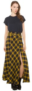 Akira Nwt Plaid Maxi New Flannel Maxi Skirt Yellow
