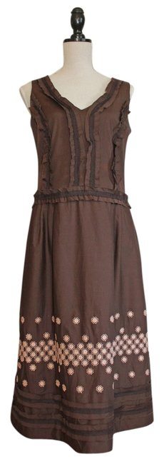 Item - Chocolate Brown with Pink Mid-length Casual Maxi Dress Size 10 (M)