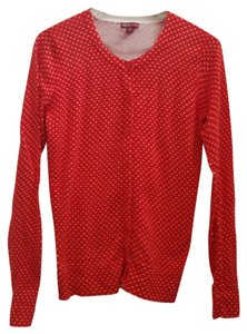 Merona Red Polka Dot Button Long Sleeve Cardigan