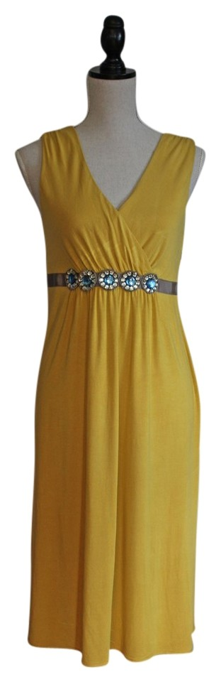 Boden dusty yellow with blue rhinestones dress for Boden yellow