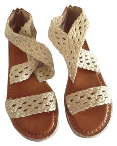 American Eagle Outfitters Bohemian Crochet Strappy Cream, brown. Sandals