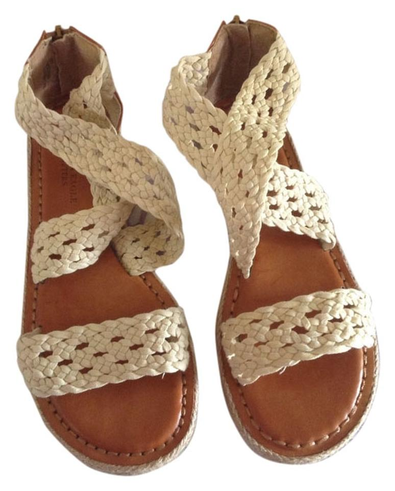 3bb4984e72e American Eagle Outfitters Cream Brown. Bohemian Crochet Strappy Sandals  Size US 7 Regular (M, B)