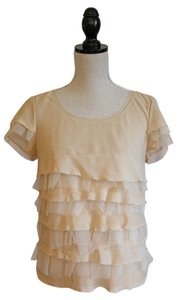 J.Crew Top Layered Nude Silk, Organza and Tulle