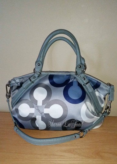fabric Coach Madison Sophia Blue Gray Leather Stain Resistance Satchel in multi