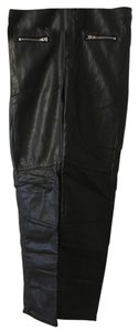 H&M Straight Pants Black faux leather