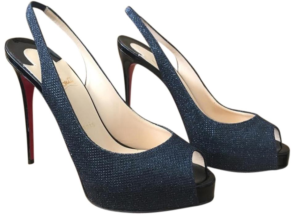 f30667dd93d Christian Louboutin Navy Blue And Black Private Number 120mm Glitter  Slingback Pumps Euro Platforms