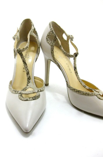 Ivanka Trump Formal Cream Leather Heels T Strap Ivory with snake trim Pumps