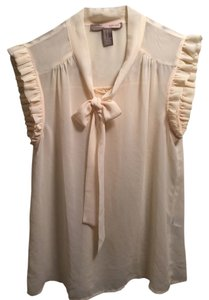 Forever 21 Pussy Bow Neck Tie Ruffle Top cream