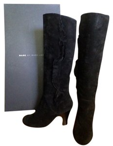 Marc by Marc Jacobs Ruffle Suede Kneehigh Black Boots