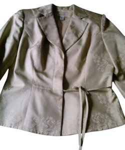 Talbots Pure 100% Silk Green with Gold Overlay Dress Suit Jacket