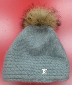 chanel Chanel style knitted hat with real fox fur pom pom nwot