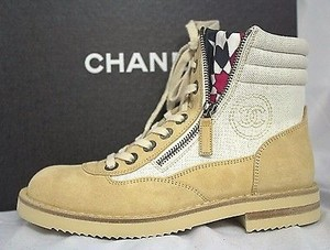 Chanel Suede Canvas Beige Boots