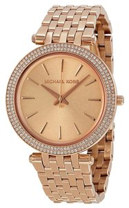 Michael Kors Crystal Pave Bezel Rose Gold Stainless Steel Designer Dress Ladies Watch