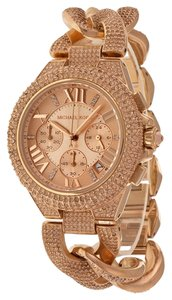 Michael Kors Crystal Pave Rose Gold Stainless Steel Luxury Designer Ladies Dress Watch