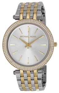 Michael Kors Two Tone Silver and Gold Stainless Steel Crystal Pave Designer Ladies Watch