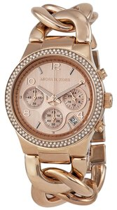 Michael Kors Rose Gold Stainless Steel Crystal Pave Twist Chain Strap Designer Dress Watch