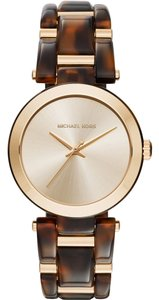 Michael Kors Michael Kors Women's Delray Gold-Tone Stainless Steel and Tortoise Acetate Bracelet Watch 36mm