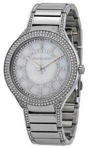 Michael Kors Mother of Pearl and Crystal Pave Dial Silver tone Stainless Steel Designer Dress Ladies Watch