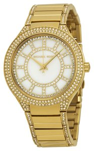 Michael Kors Mother of Pearl and Crystal Pave Dial Gold tone Stainless Steel Designer Ladies Dress Watch