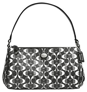 Coach Peyton Dream C Top Handle Pouch Black/white Small Satchel in White/black