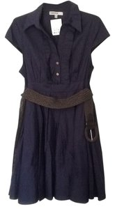 bailey blue short dress Navy Blue Tulling Button Down Ruffles Weave Belt on Tradesy
