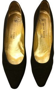Bruno Magli Vintage Satin Black Pumps