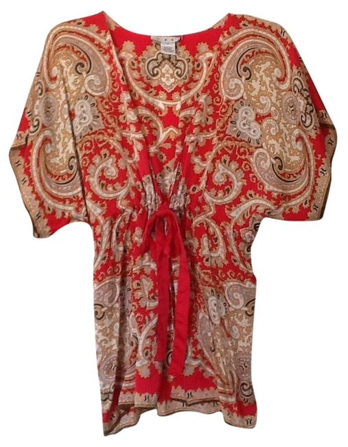 Item - Red Gold Brown Cream Kimono Orient Tunic Size 6 (S)