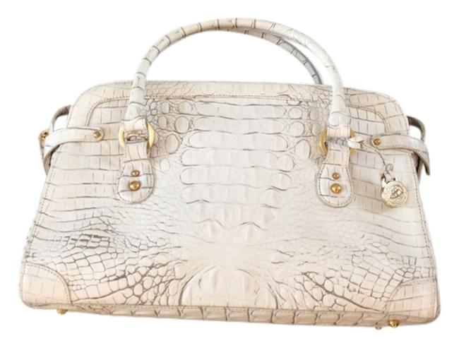 Item - White with Grey Accents Leather Satchel