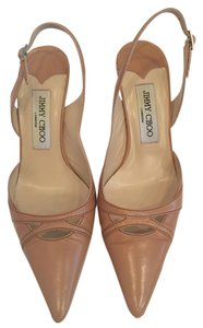 Jimmy Choo Slingback Leather Camel Pumps