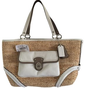 Coach Straw Nwt Pet Smoke Free Tote in Natural and Parchment