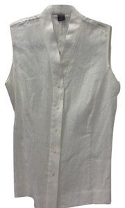 Brooks Brothers Linen Casual Chic Top white