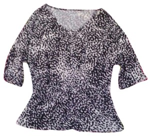 Merona Leopard Peplum Soft Top Black & White