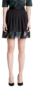 Ted Baker Pleated Floral Skirt Black
