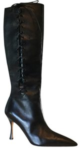 Manolo Blahnik Black Leather Boots
