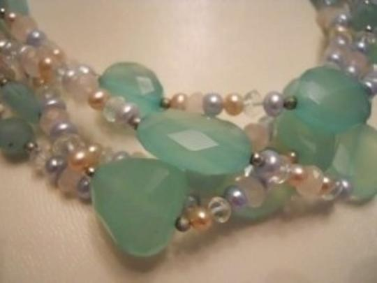 Other green faceted stone necklace with sterling detail