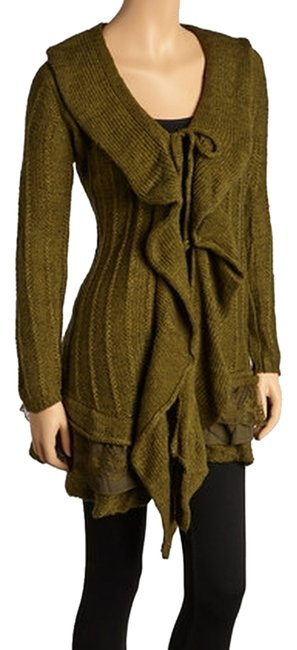 Come N See Ruffle Lace Cardigan Tie Front Sporty Olive Green Jacket