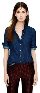 J.Crew Polka Dot Shirt Button Down Shirt Blue