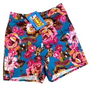 Beach Bash by Art & Tatyana Shorts Blue and Pink Floral