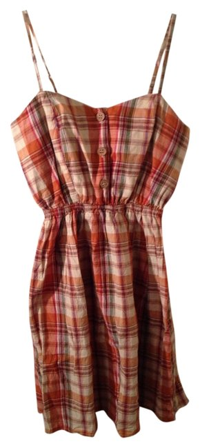 American Rag short dress Orange Plaid on Tradesy