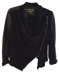 BlankNYC Vegan Leather Drape Front Black Blazer