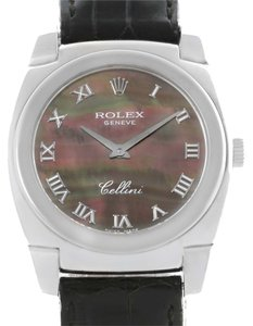 Rolex Rolex Cellini Cestello 18K White Gold Black Mother Of Pearl Watch 5320