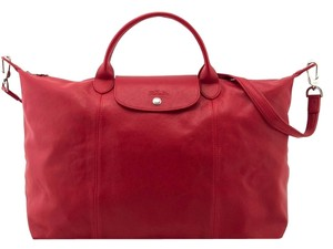 Longchamp Leather Lambskin Travel Pliage Crossbody Tote in red