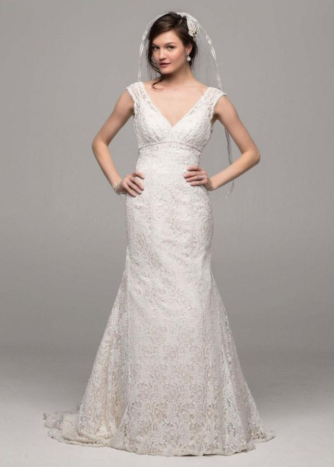 Davids bridal all over beaded lace trumpet gown wedding for David s bridal lace wedding dress