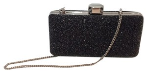 MILLY Sparkle Silver Chain Black Clutch