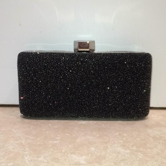MILLY Sparkle Silver Chain Black Clutch Image 1