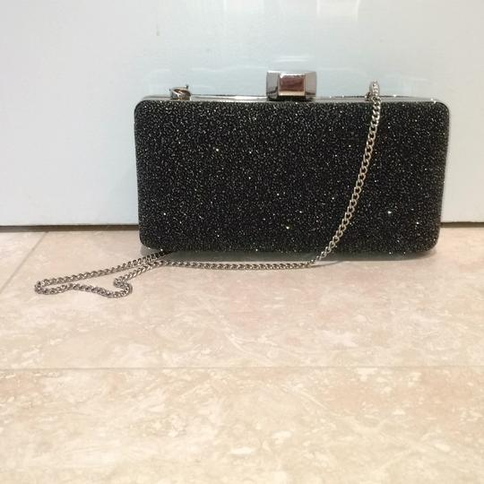 MILLY Sparkle Silver Chain Black Clutch Image 10
