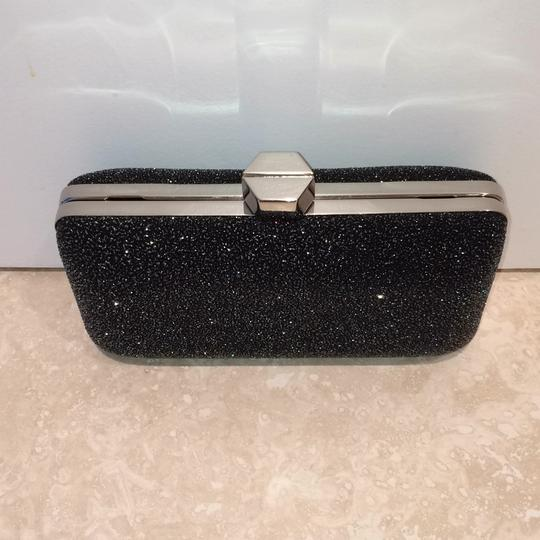 MILLY Sparkle Silver Chain Black Clutch Image 2