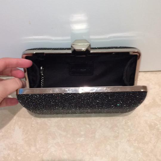 MILLY Sparkle Silver Chain Black Clutch Image 4